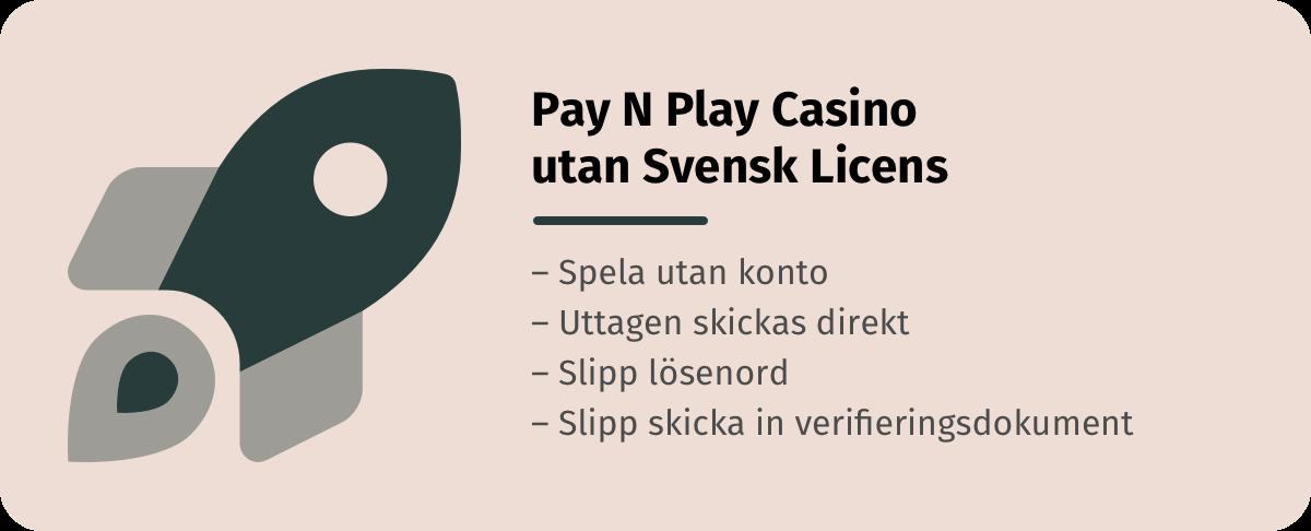 Spela på pay n play casino utan svensk licens