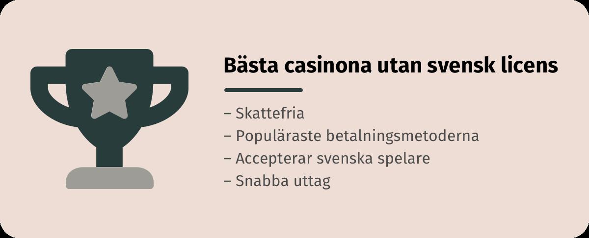 Spela på de bästa casinona utan svensk licens